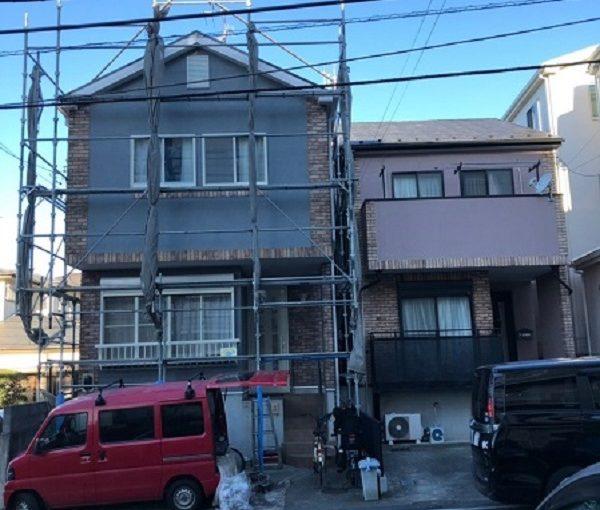 神奈川県横須賀市 外壁塗装 仮説足場 設置~塗装開始前まで