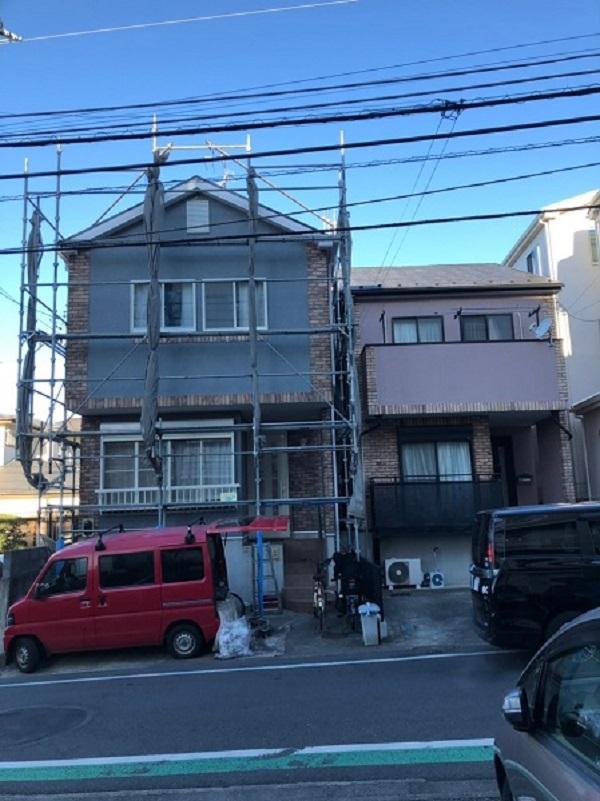 神奈川県横須賀市 外壁塗装 仮説足場 設置~高圧洗浄まで