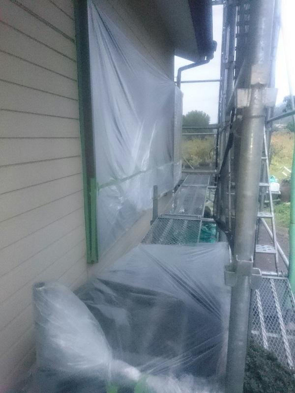 神奈川県逗子市 外壁塗装 下地処理 高圧洗浄 養生
